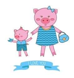 Mother pig and piglet vector