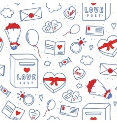 Valentines day hand drawn doodle seamless vector
