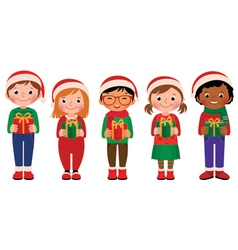 Cartoon children with christmas gifts vector