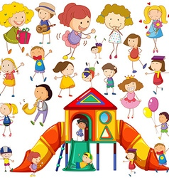 Children doing different actions and playhouse vector