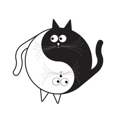 Yin yang sign icon white and black cute funny vector