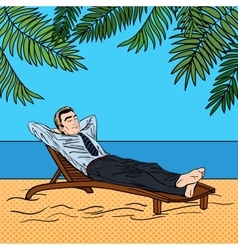 Businessman relaxing on the beach pop art vector