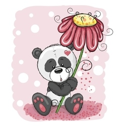 Panda with flower vector image