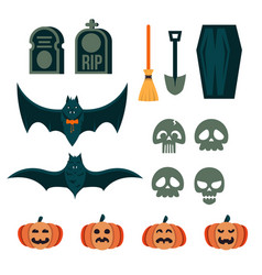 a collection of spooky halloween event decoration vector image