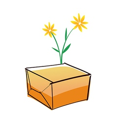 A paper box and flowers vector image vector image