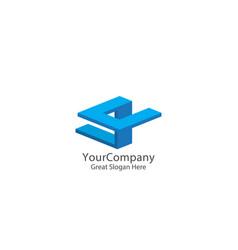 abstract letter e and u logo icon beam block logo vector image