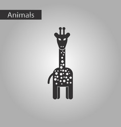 black and white style icon giraffe vector image
