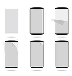 Black smartphones display with protector glass set vector image
