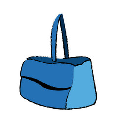 Blue purse handle case handbag icon vector