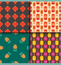 Chinese lantern collection seamless pattern vector