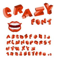 Crazy font mad abc different letters curves vector