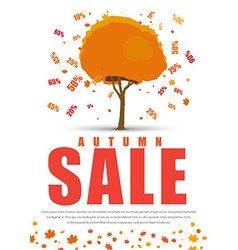 Design a poster for sale with autumnal tree with vector