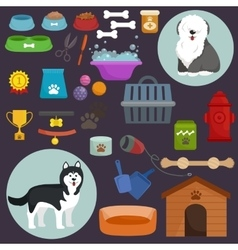 Dog icons flat set with dung kennel leash food vector