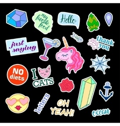 Fashion patch badges with different elements Set vector image vector image