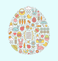 Flat outline easter and spring icons vector