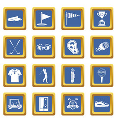 Golf items icons set blue vector