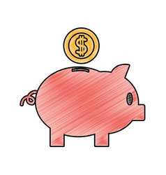 Grated piggy to save money and coins with peso vector