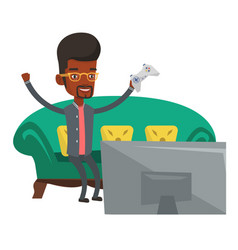 Happy man playing video game vector