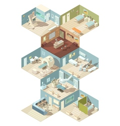 Hospital indoors isometric design concept vector