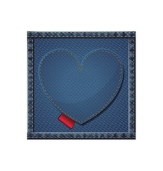 Isolated denim frame with heart design vector