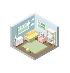 Isometric nursery kids room set of nursery vector
