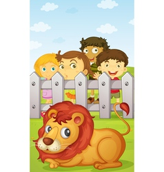 Kids watching lion vector image
