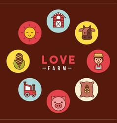Love farm flat vector