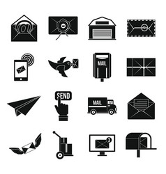 Poste service icons set simple style vector