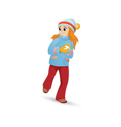 pretty girl in warm clothes making snowball vector image vector image