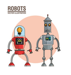 Robots technology mechanical vintage vector