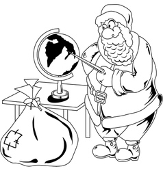 Santa Claus with globe vector image