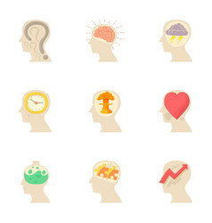 thoughts in my head icons set cartoon style vector image vector image