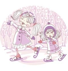 two girls skate vector image