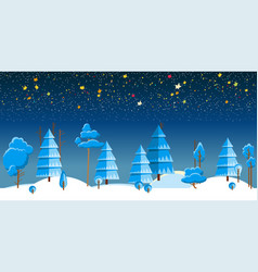 winter night forest vector image vector image