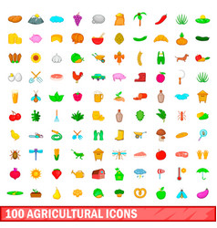 100 agricultural icons set cartoon style vector image