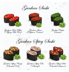 Set color sketch gunkan sushi vector