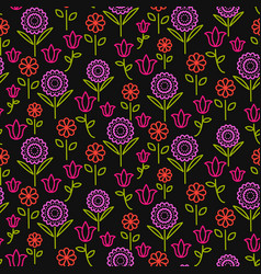 Seamless pattern with bright line flowers vector