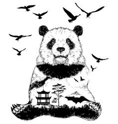 Double exposure panda bear vector