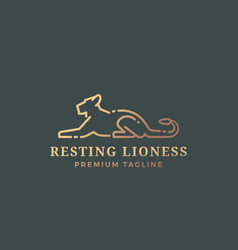 Resting lioness abstract sign emblem or vector