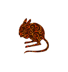 Jerboa rodent mammal color silhouette animal vector