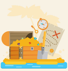 open treasure chest and pirates stuff on a desert vector image