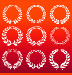 Laurel wreaths set - white decorative winners vector