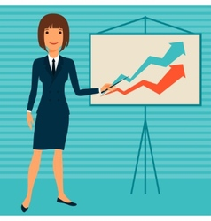 young business lady showing infographic vector image