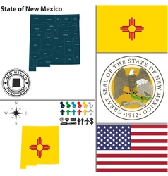 Map of New Mexico with seal vector image
