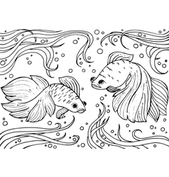 Marine life monochrom hand drawn background vector