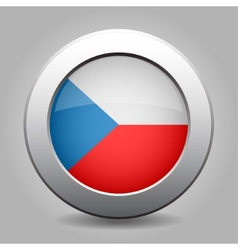 Metal button with the czech flag vector