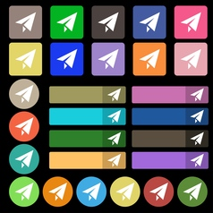 Paper airplane icon sign set from twenty seven vector