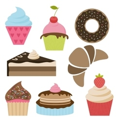Set of delicious cakes and cupcakes vector