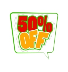 50 percent off comics icon vector