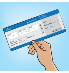 Outstretched hand with airplane ticket vector